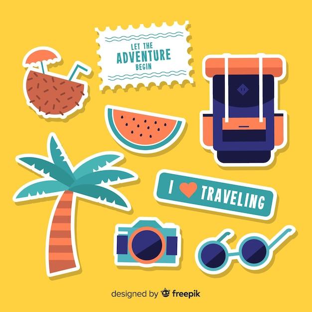Flat travel sticker set Free Vector
