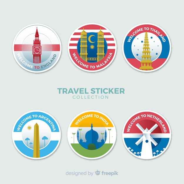 Flat travel stickers collection Free Vector