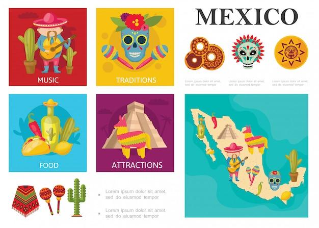 Концепция flat travel to mexico с традиционными мексиканскими блюдами, известными достопримечательностями, музыкальными и культурными традициями Бесплатные векторы