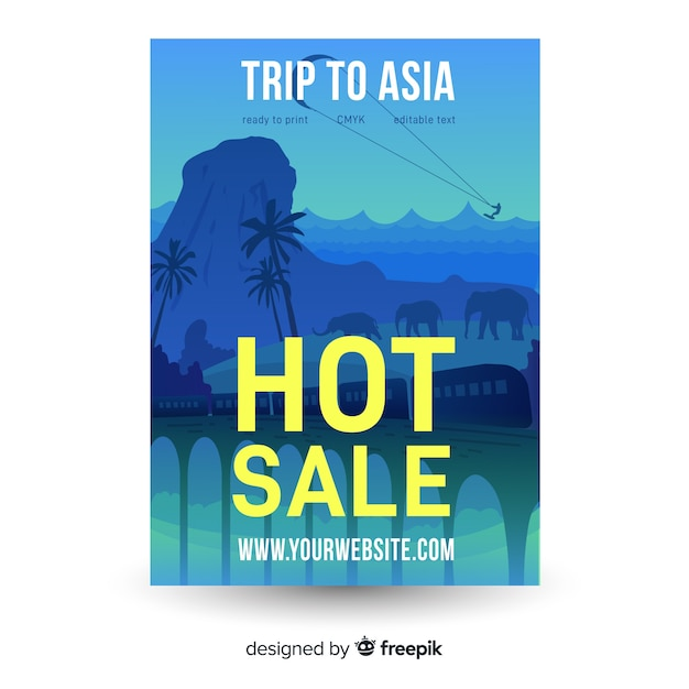 Flat travelling poster template Free Vector