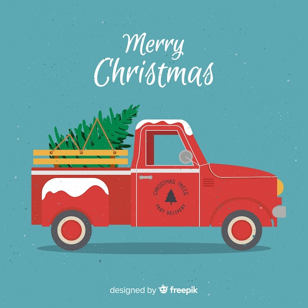 flat tree delivery truck christmas background 23 2148008535