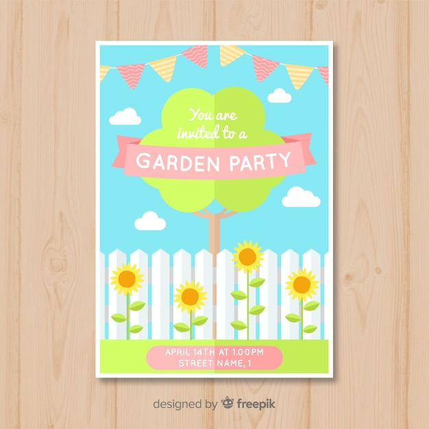 Flat tree spring party poster Free Vector