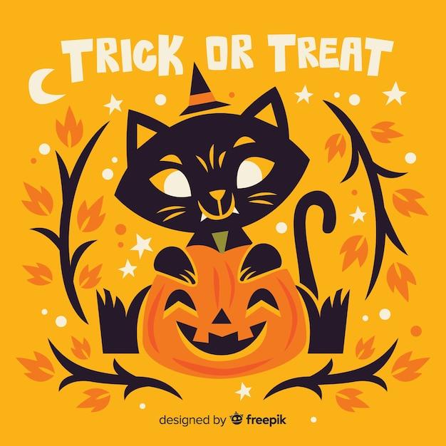 Flat trick or treat halloween cat Free Vector