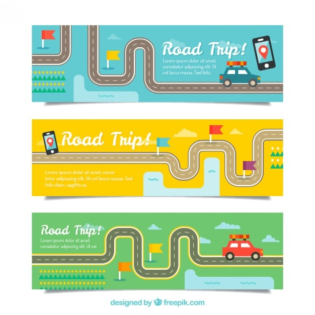 Flat trip banners with roads and cars Free Vector