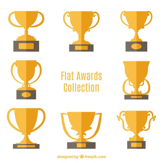 Flat Trophy Collection Free Vector