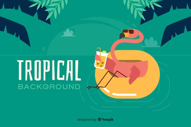 Flat tropical background with flamingo Free Vector