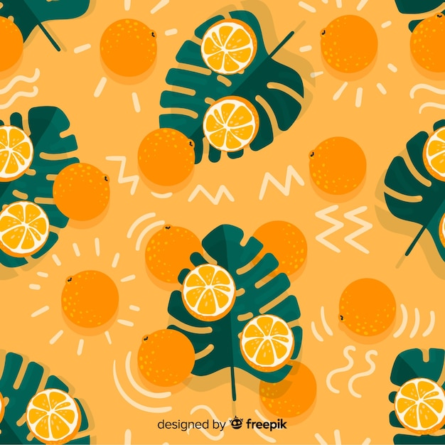Flat tropical background with fruits Free Vector