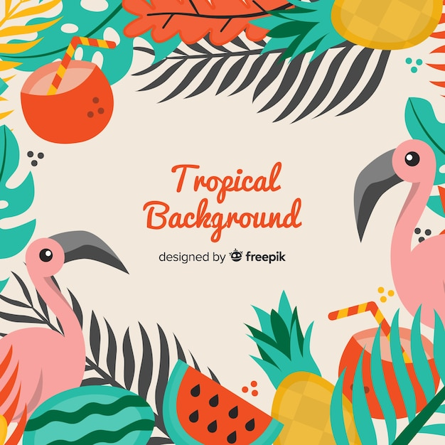 Flat tropical background Free Vector