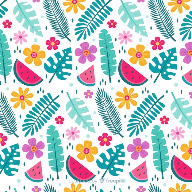 Flat tropical flower and leaves pattern Free Vector
