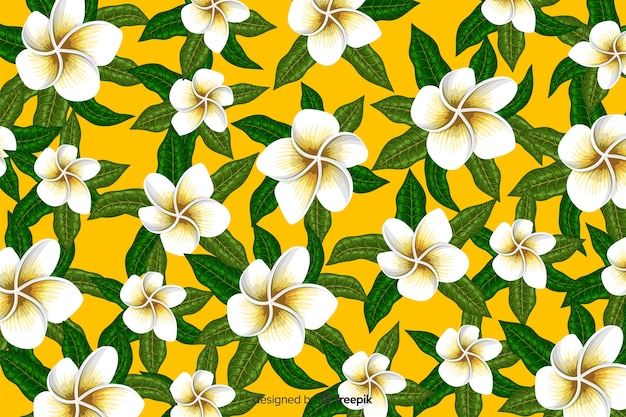 Flat tropical flower pattern background Free Vector