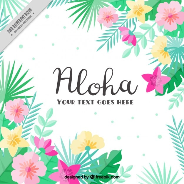 Flat Tropical Flowers Background Vector Free Download