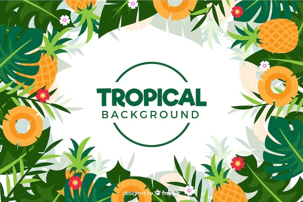 Flat tropical flowers background Free Vector