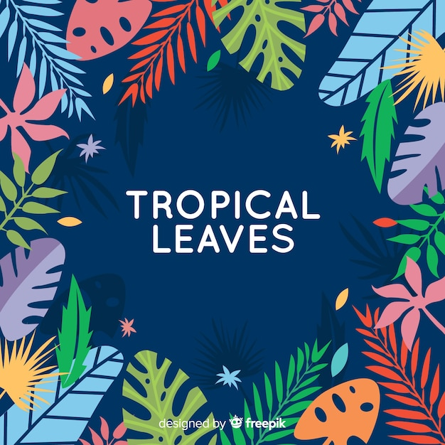 Flat tropical flowers and leaves Free Vector