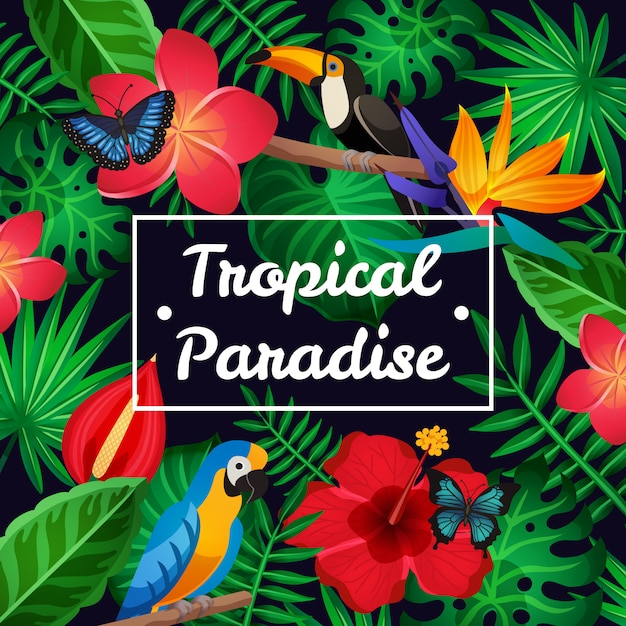 Flat tropical frame Free Vector
