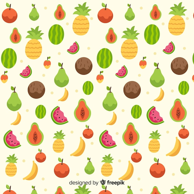 Flat tropical fruits pattern Free Vector