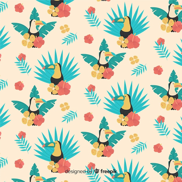 Flat tropical leaves and flowers background Free Vector