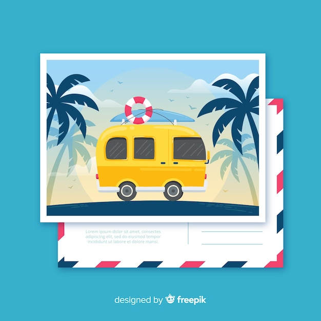 Flat tropical summer holiday postcard Free Vector