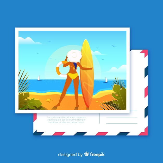 Flat tropical summer holiday postcard Free Vector