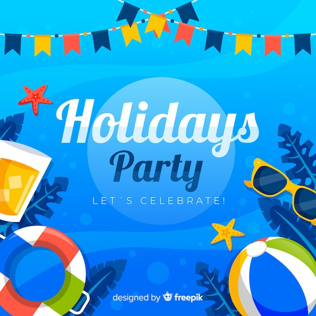 Flat tropical summer party background Free Vector