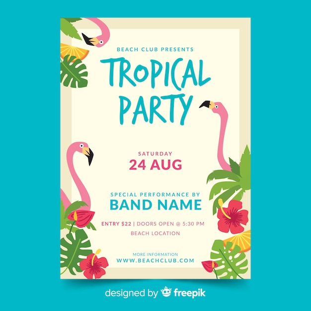 Flat tropical summer party flyer Free Vector