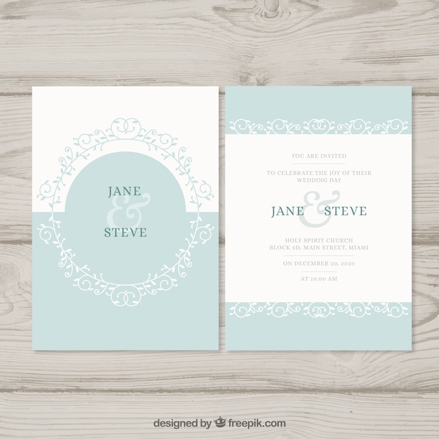 flat turquoise wedding invitation vector free download