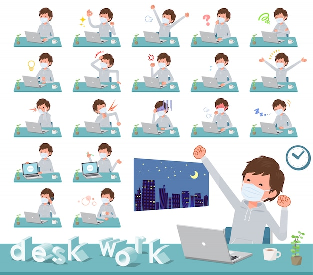 Плоская медицинская маска типа men_desk work Premium векторы