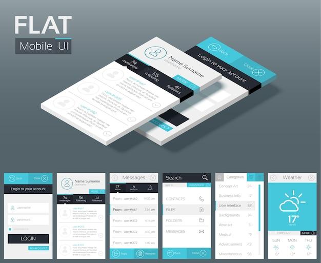 모바일 탐색 메뉴를위한 다른 화면 버튼 및 웹 요소가있는 평면 ui 디자인 컨셉 무료 벡터