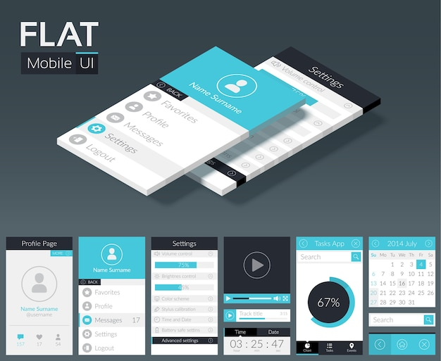 Flat ui mobile design template with different screens buttons and web elements in light colors Free Vector