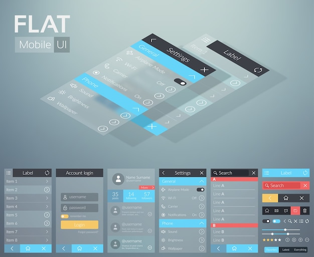 Flat ui mobile menu design concept with different screens buttons and web elements Free Vector