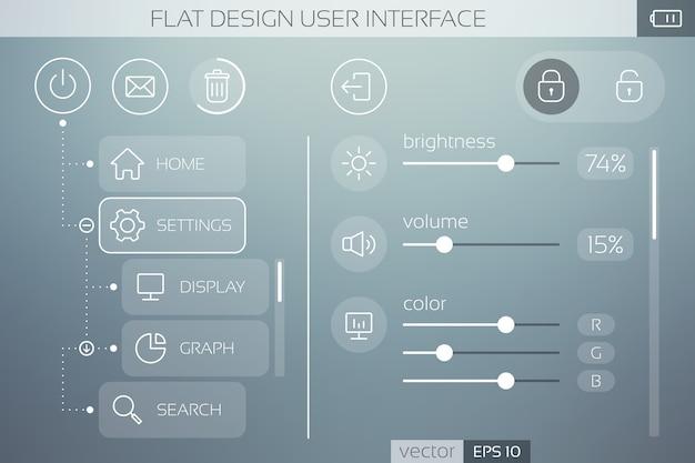 モバイルメニューとナビゲーション用のアイコンボタンスライダーとweb要素を備えたフラットuiテンプレート 無料ベクター