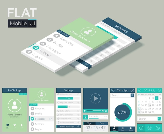Flat ui template with screens icons web buttons and elements for mobile design Free Vector