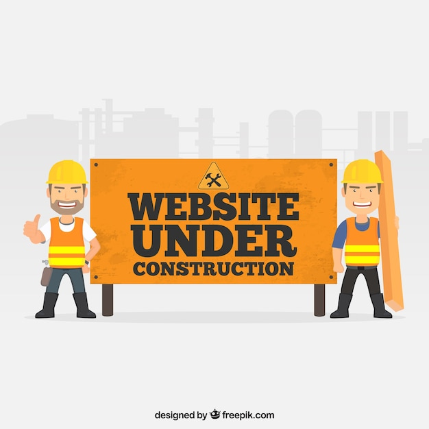 flat under construction template vector free download