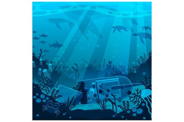 Flat underwater illustration Premium Vector