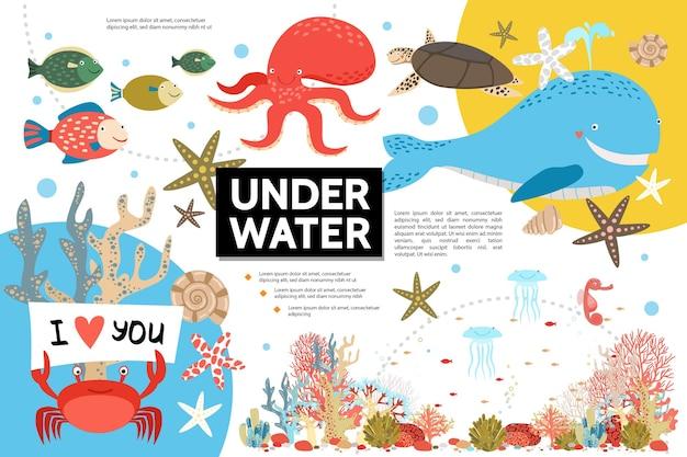Плоский инфографический шаблон подводной жизни Бесплатные векторы