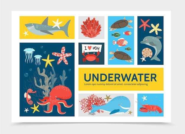 魚サメイルカカニタコアカザエビクジラタツノオトシゴとフラット水中世界インフォグラフィックコンセプト 無料ベクター