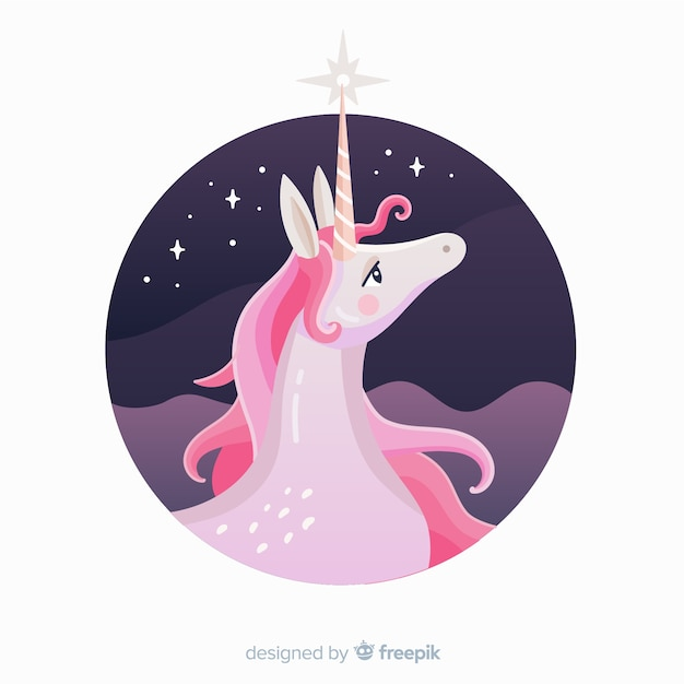 Flat unicorn backgorund Free Vector