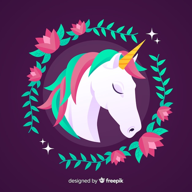 Flat unicorn background Free Vector