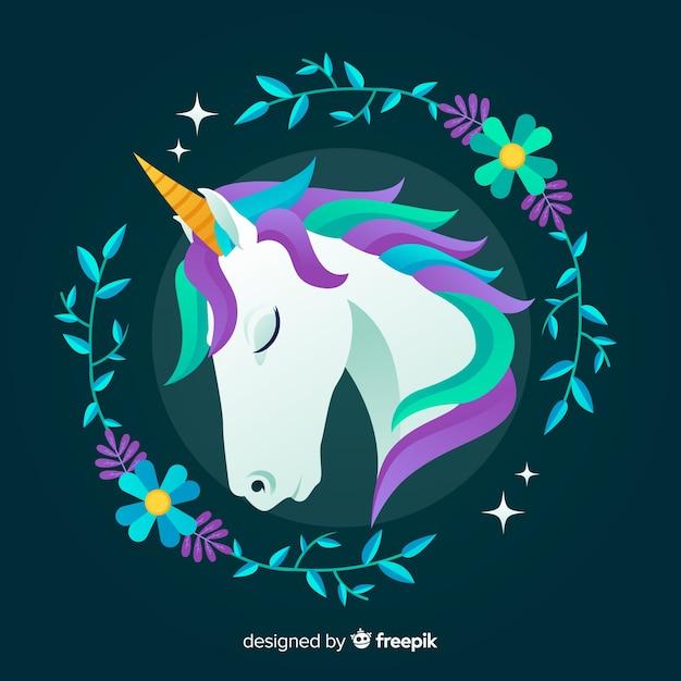 Flat unicorn background Free Vector