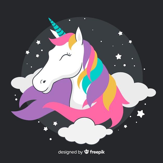 Flat unicorn background Premium Vector