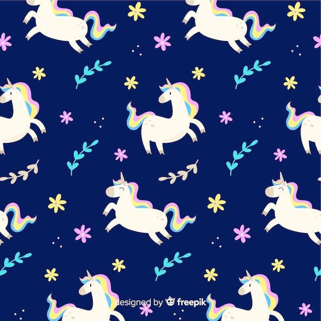 Flat unicorn floating with leaves pattern Free Vector