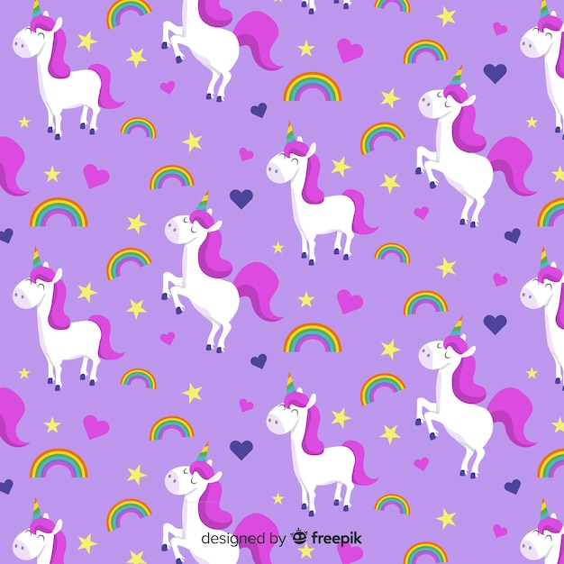 Flat unicorn pattern Free Vector