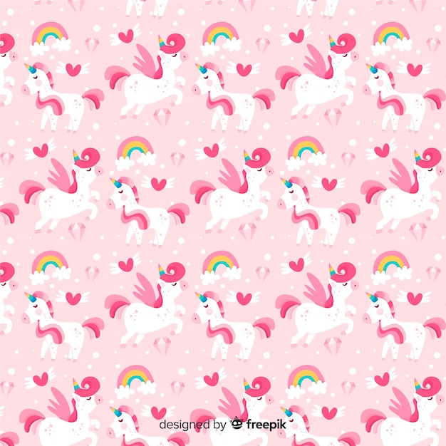 Flat unicorn pattern Free Vector