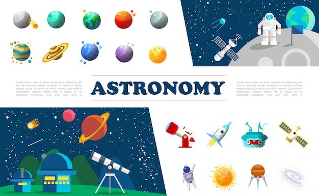 Insieme variopinto di elementi dell'universo piatto con diversi pianeti astronauta nello spazio cosmico satellite planetario telescopio astronave luna rover costellazione del sole Vettore gratuito