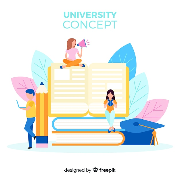 Flat university background Free Vector
