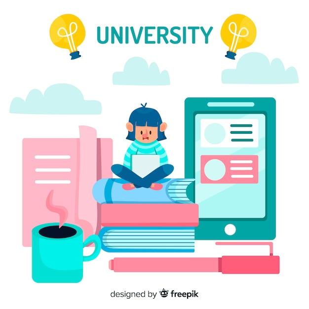 Flat university background Free Vector