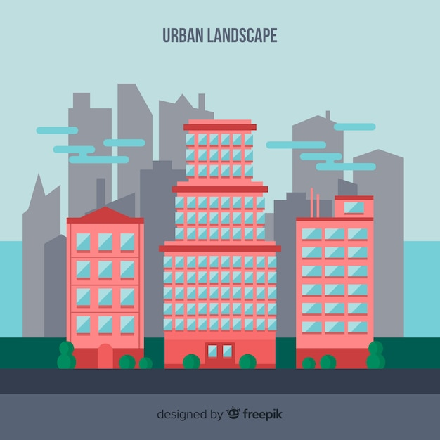 Free Download Flat Urban Landscape With Office Buildings