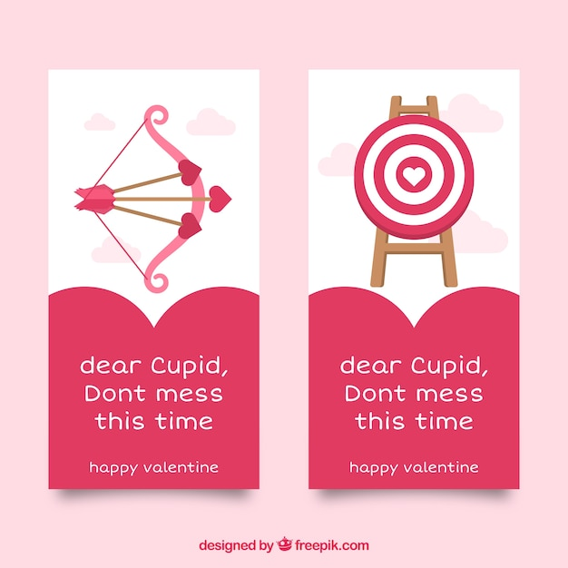 Flat valentine banners with arrows and\ bullseye