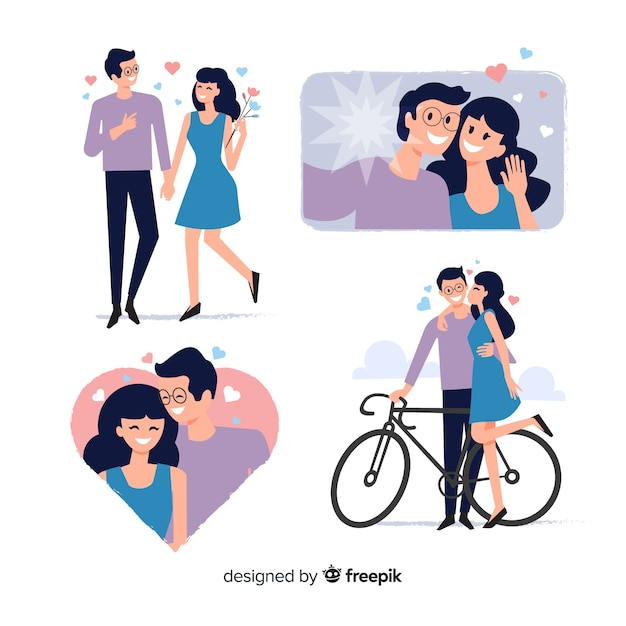 Flat valentine couple collection Free Vector