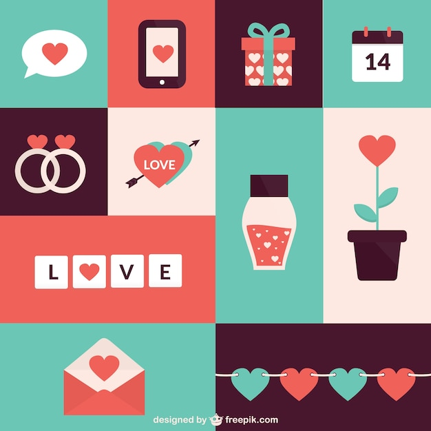 Flat valentine day elements pack Premium Vector