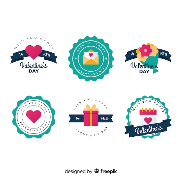 Flat valentine elements badge collection Free Vector